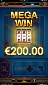 Casino blocks arcade game mega win screen