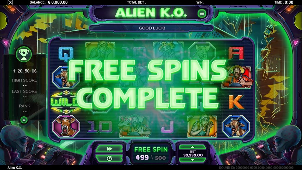 Free spins complete Alien Knock out slot